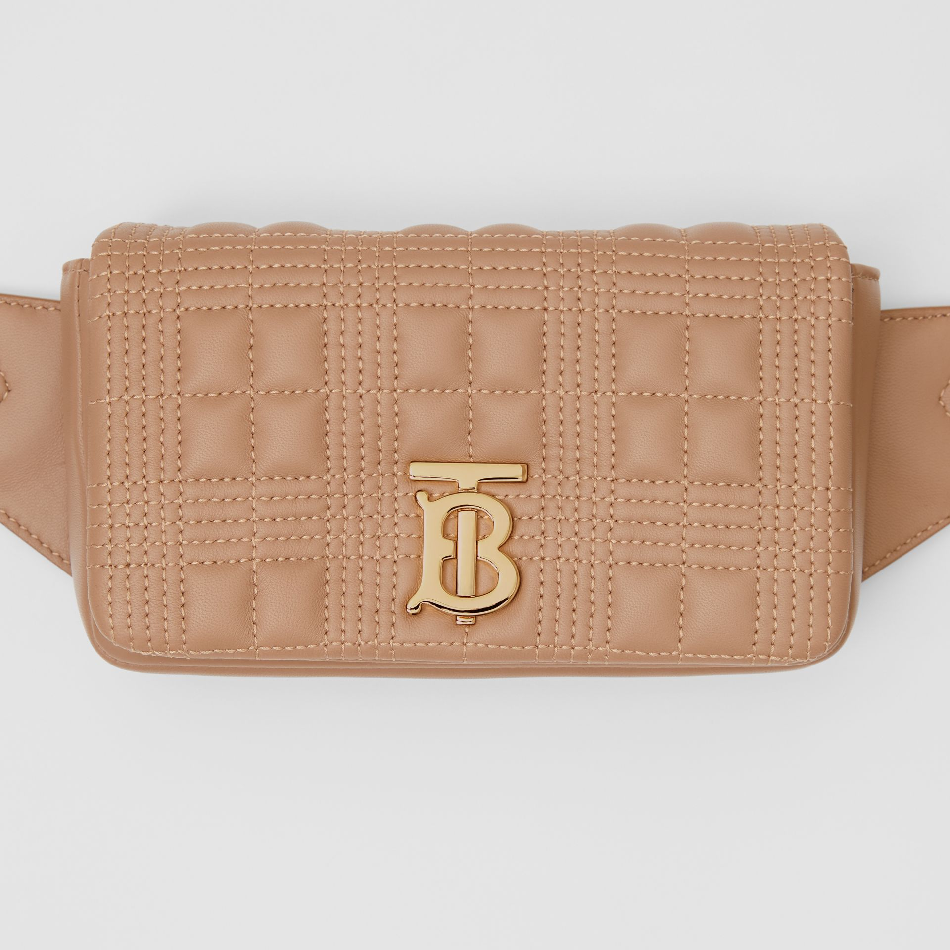 Quilted Lambskin Lola Bum Bag in Camel | Burberry United Kingdom - gallery image 1