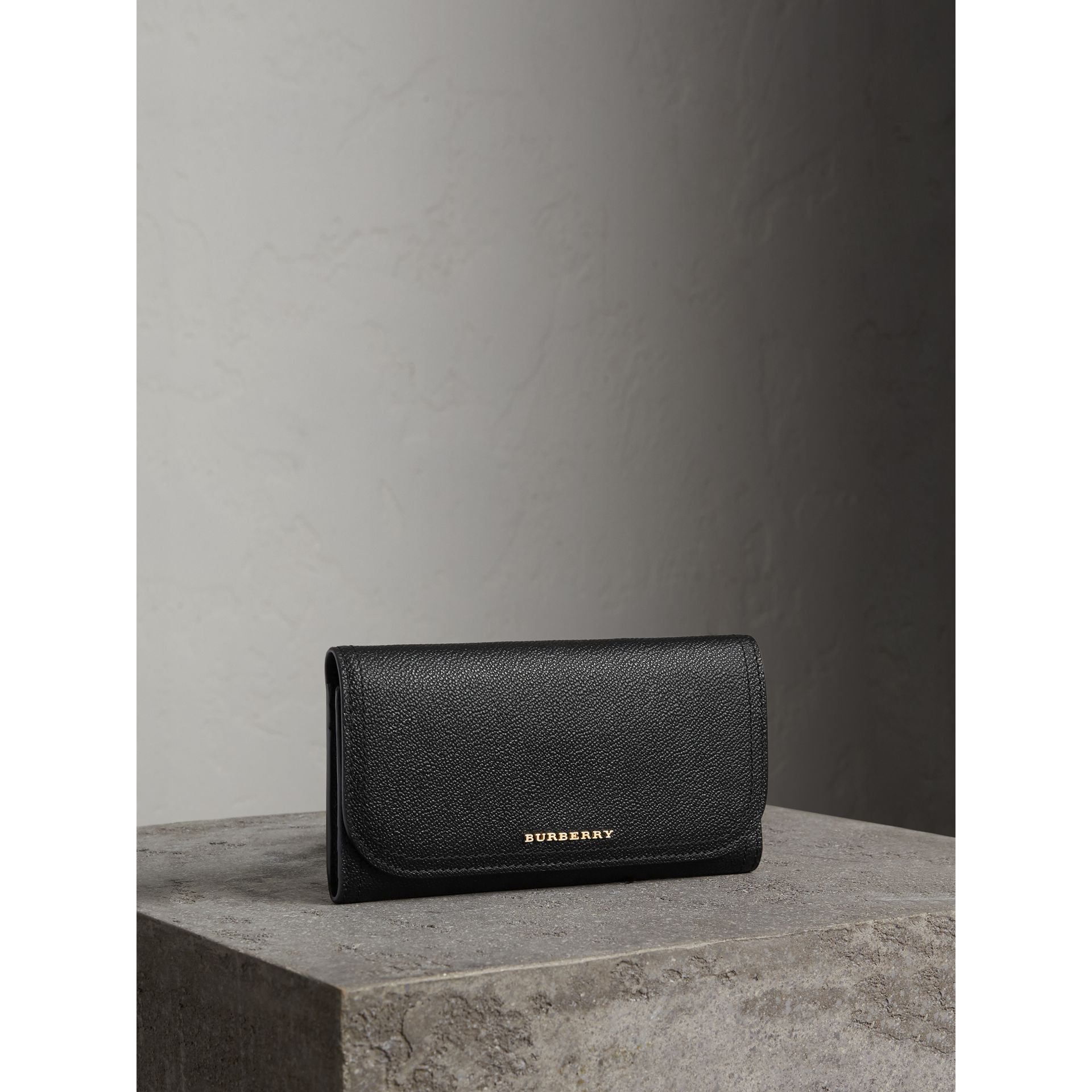 Leather Continental Wallet with Removable Coin Case in Black - Women | Burberry - gallery image 1