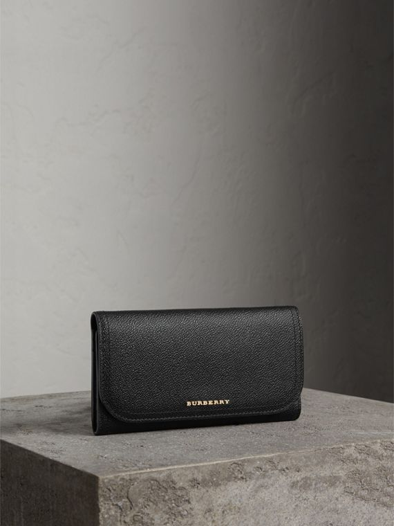 Leather Continental Wallet with Removable Coin Case in Black