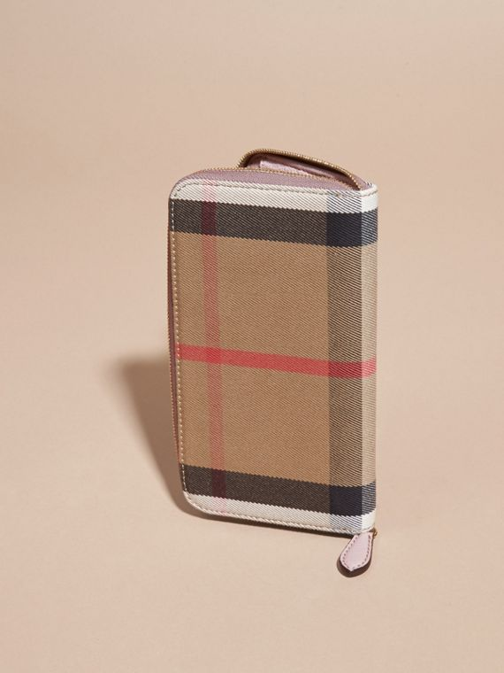 House Check and Leather Ziparound Wallet in Pale Orchid - Women | Burberry - cell image 2
