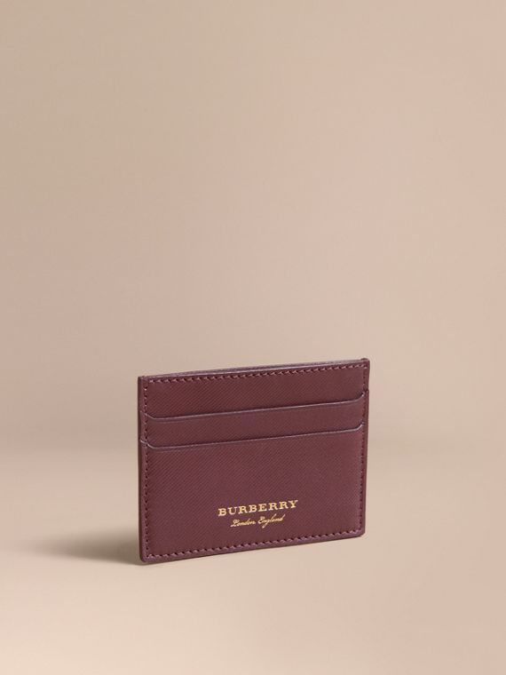 Trench Leather Card Case in Wine - Men | Burberry