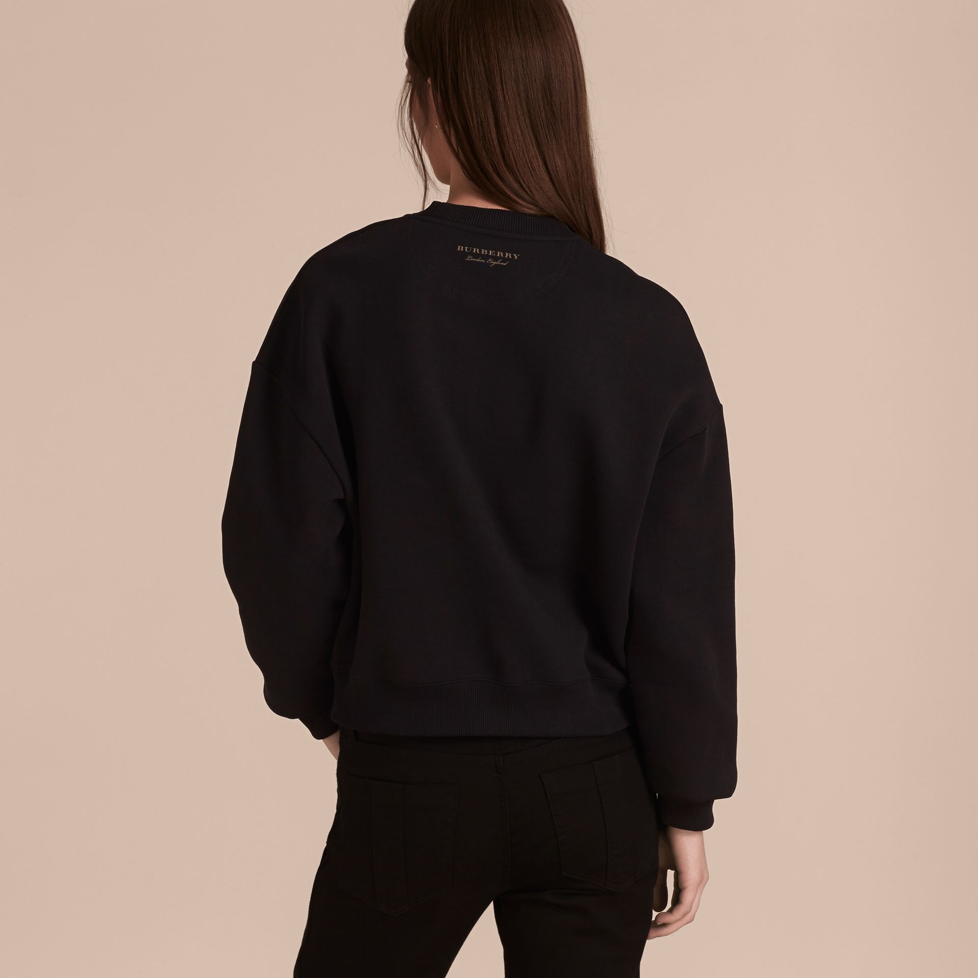 Black Cotton Blend Jersey Sweatshirt with Regimental Detail - gallery image 3