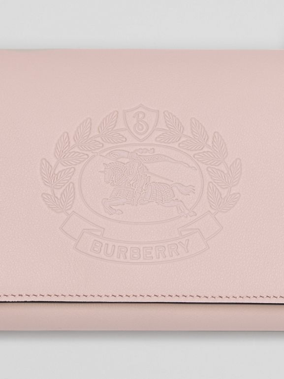 Embossed Crest Leather Wallet with Detachable Strap in Chalk Pink - Women | Burberry - cell image 1