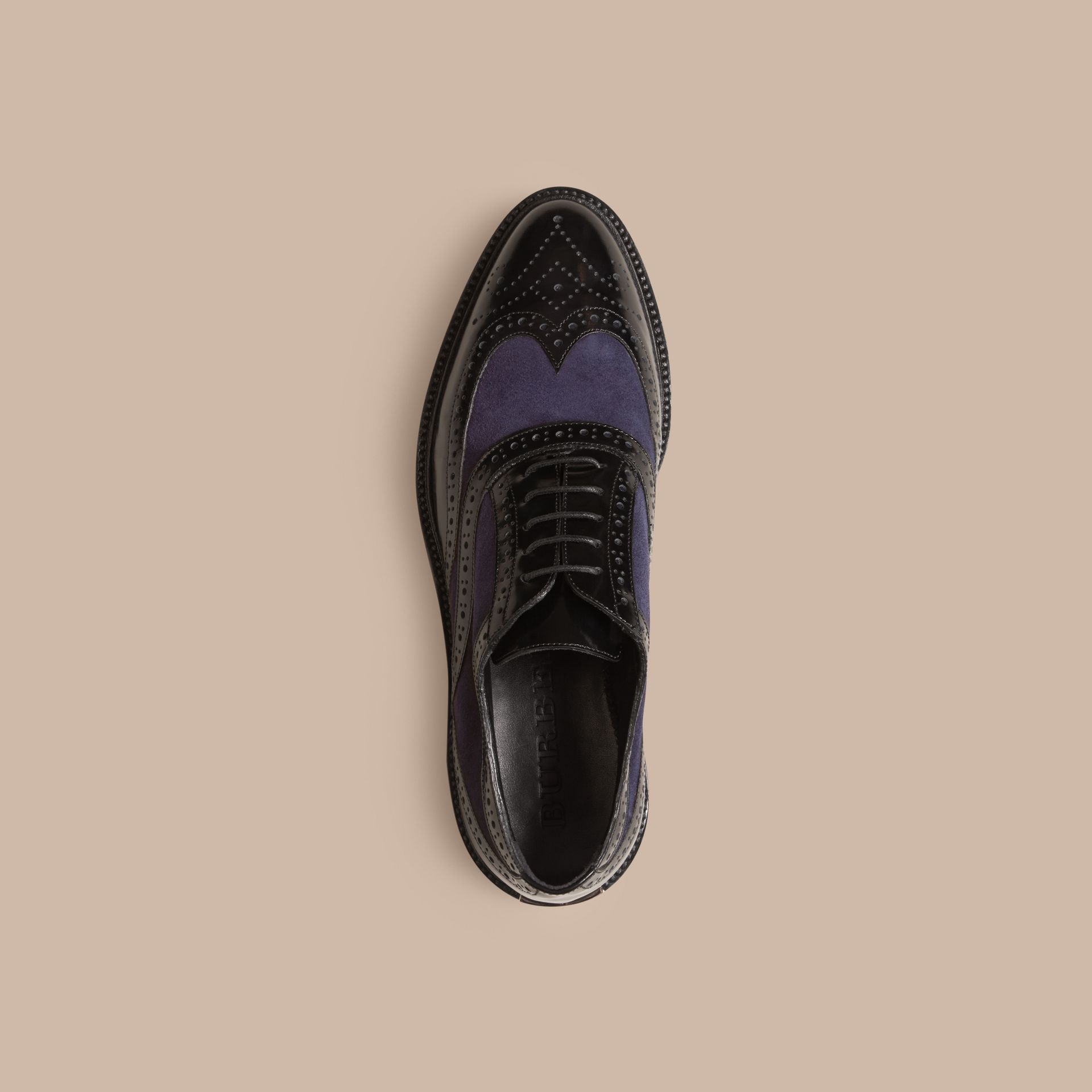 Leather and Suede Wingtip Brogues in Navy - Women | Burberry United States - gallery image 2