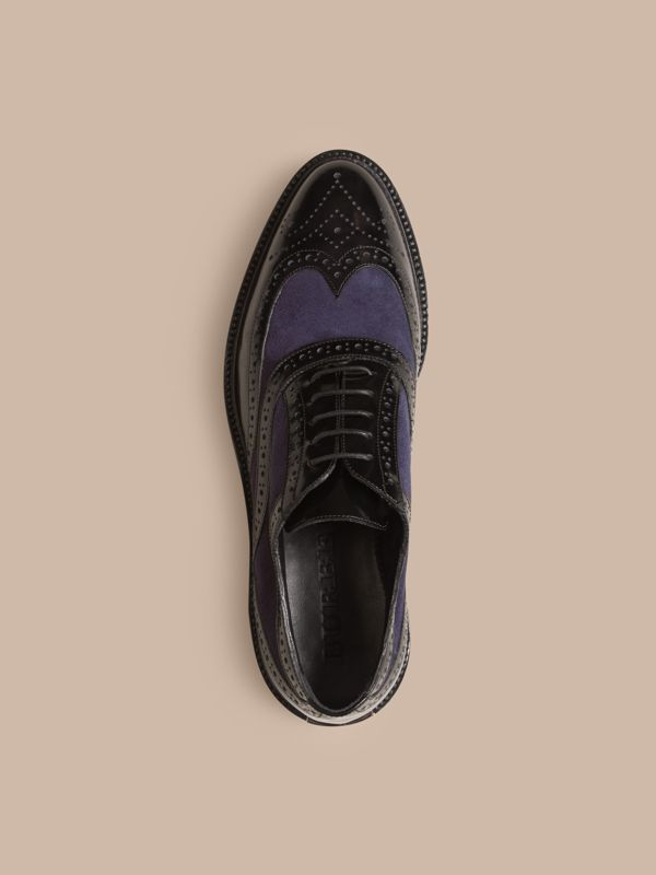Leather and Suede Wingtip Brogues in Navy - Women | Burberry United States - cell image 2