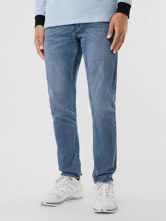Slim Fit Washed Jeans in Light Indigo Blue