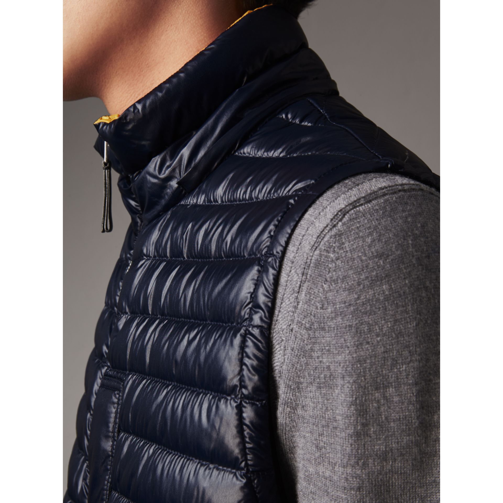 Detachable Hood Packaway Goose-down Gilet in Navy - Men | Burberry - gallery image 5