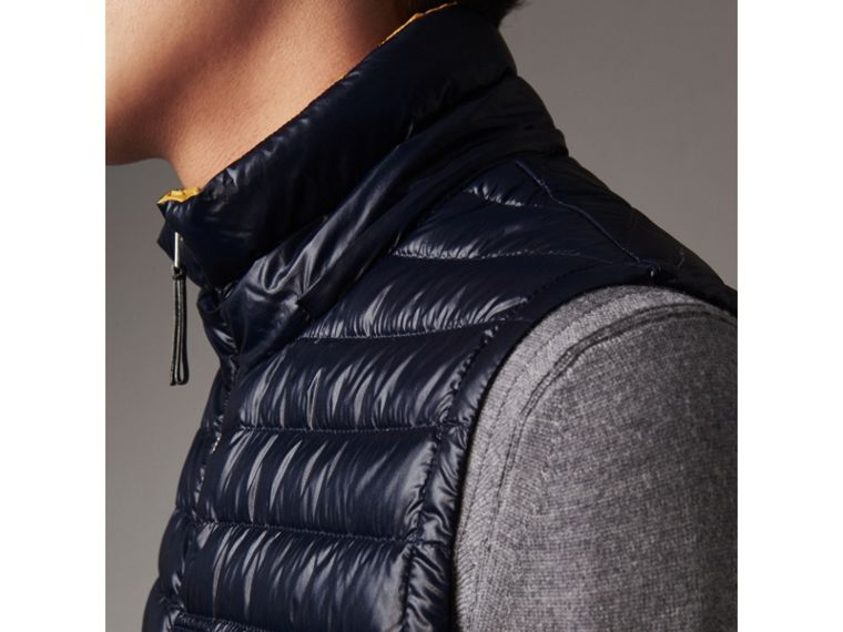 Detachable Hood Packaway Goose-down Gilet in Navy - Men | Burberry - cell image 4