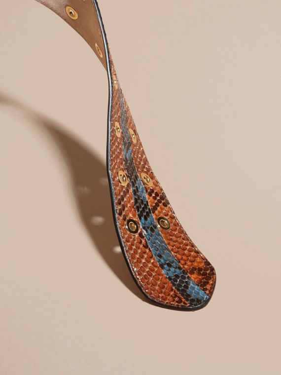 Striped Snakeskin Waist Belt in Tan/mineral Blue - Women | Burberry Singapore - cell image 2