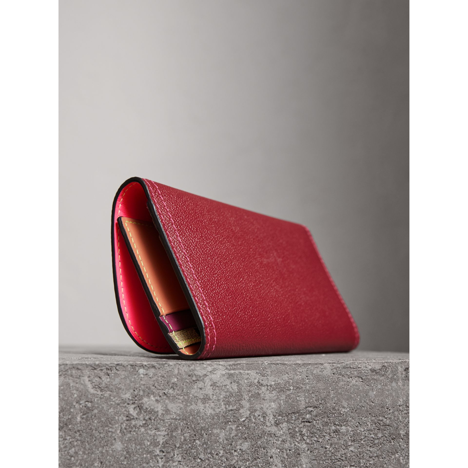 Colour Block Continental Wallet and Coin Case in Parade Red/multicolour - Women | Burberry Singapore - gallery image 2