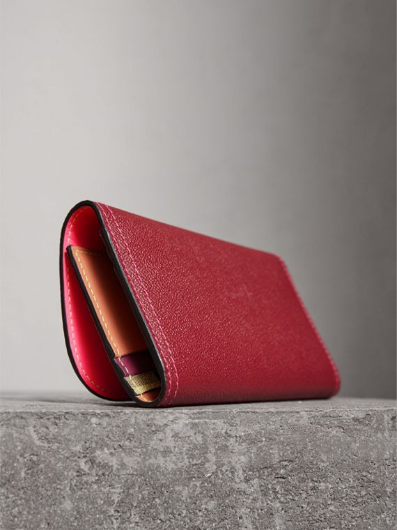 Colour Block Continental Wallet and Coin Case in Parade Red/multicolour - Women | Burberry Hong Kong - cell image 2