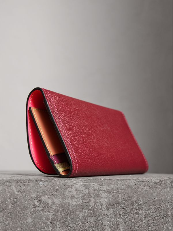 Colour Block Continental Wallet and Coin Case in Parade Red/multicolour - Women | Burberry - cell image 2