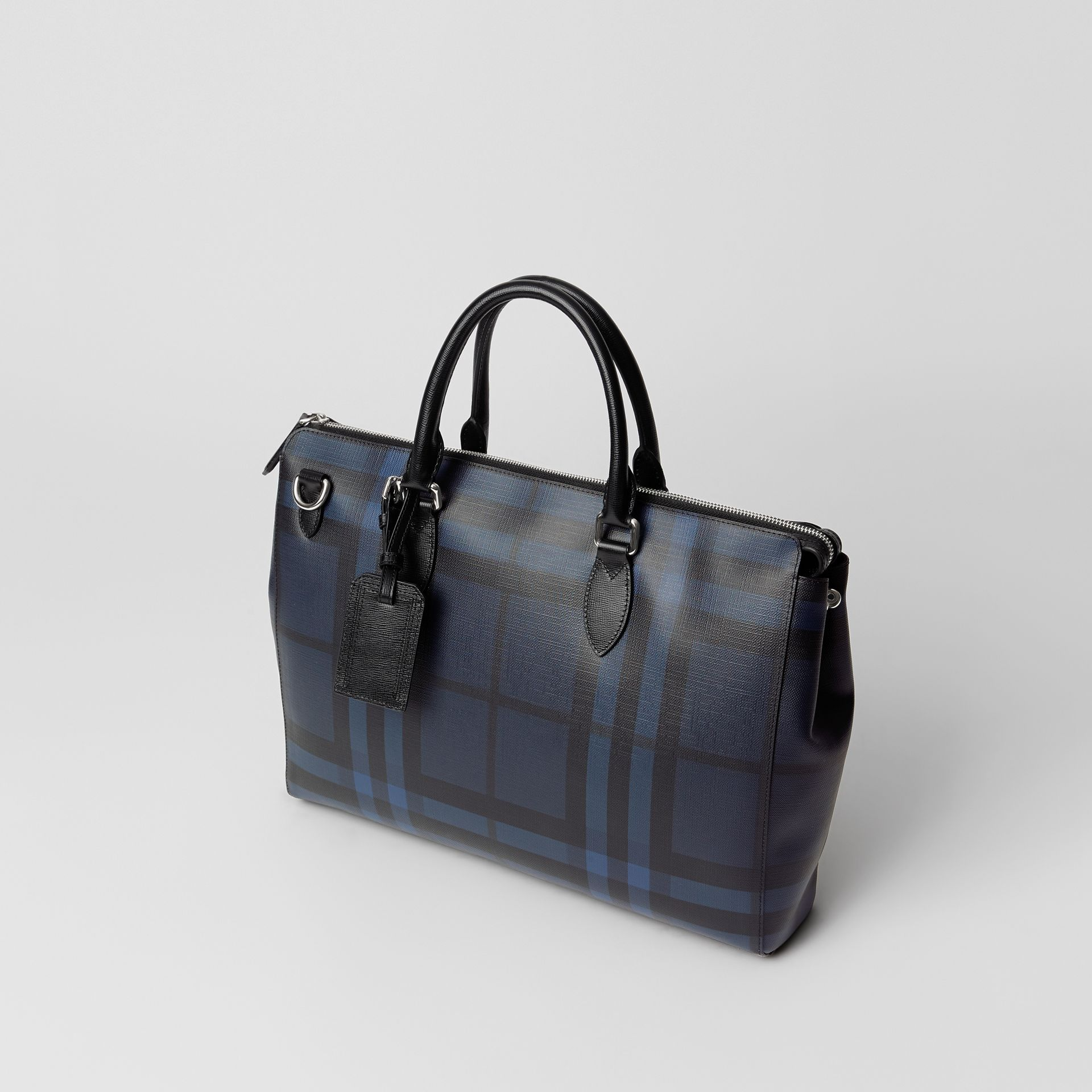 Grand attaché-case à motif London check (Marine/noir) - Homme | Burberry Canada - photo de la galerie 4