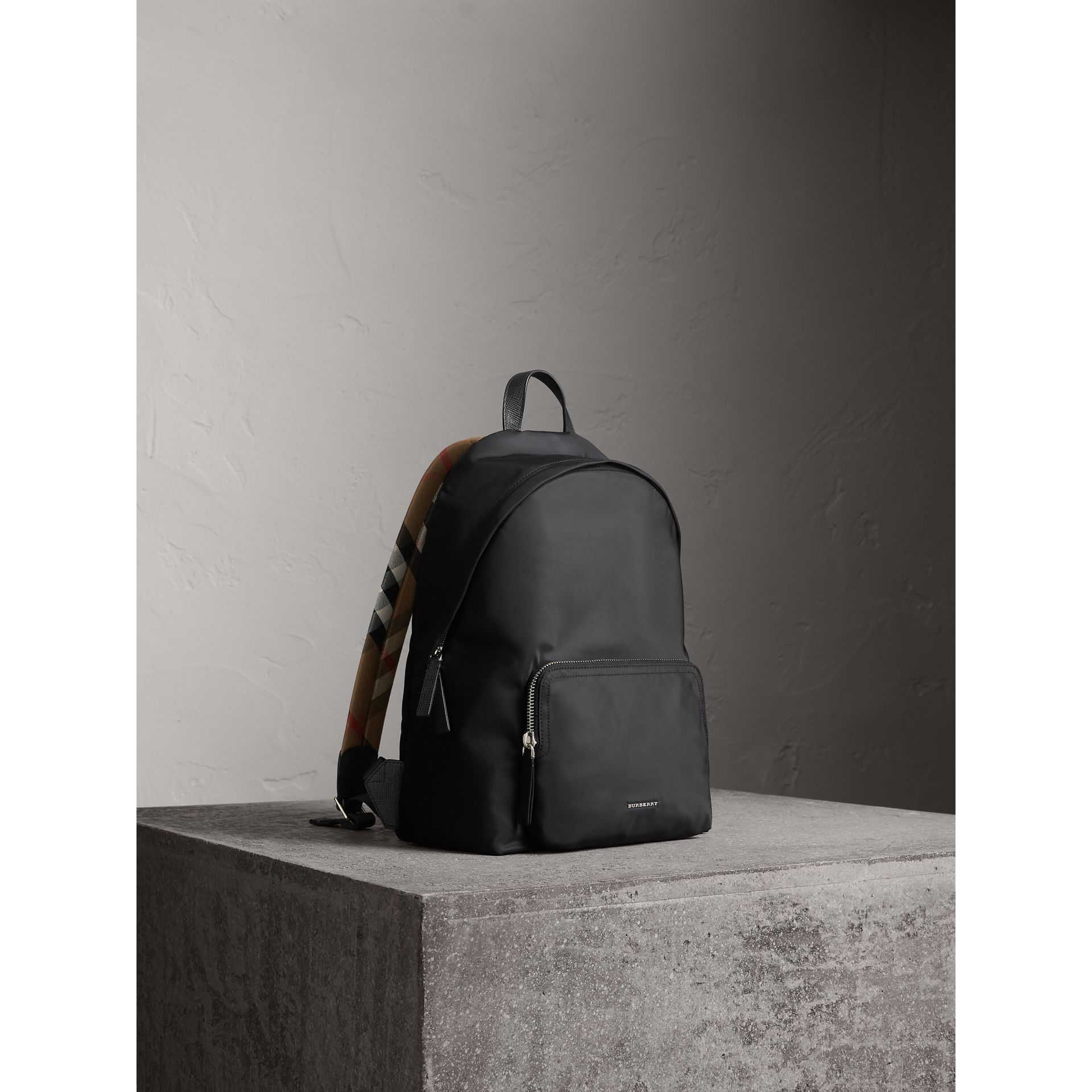Leather Trim Nylon Backpack with Check Detail in Black - Men | Burberry - gallery image 6