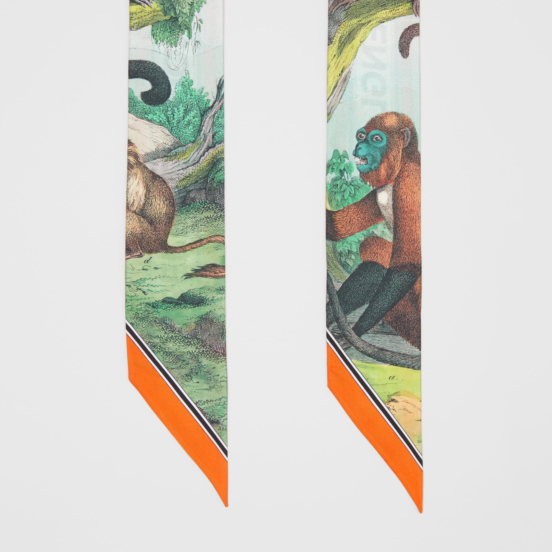 Monkey Print Silk Skinny Scarf in Light Opal Green | Burberry - gallery image 4