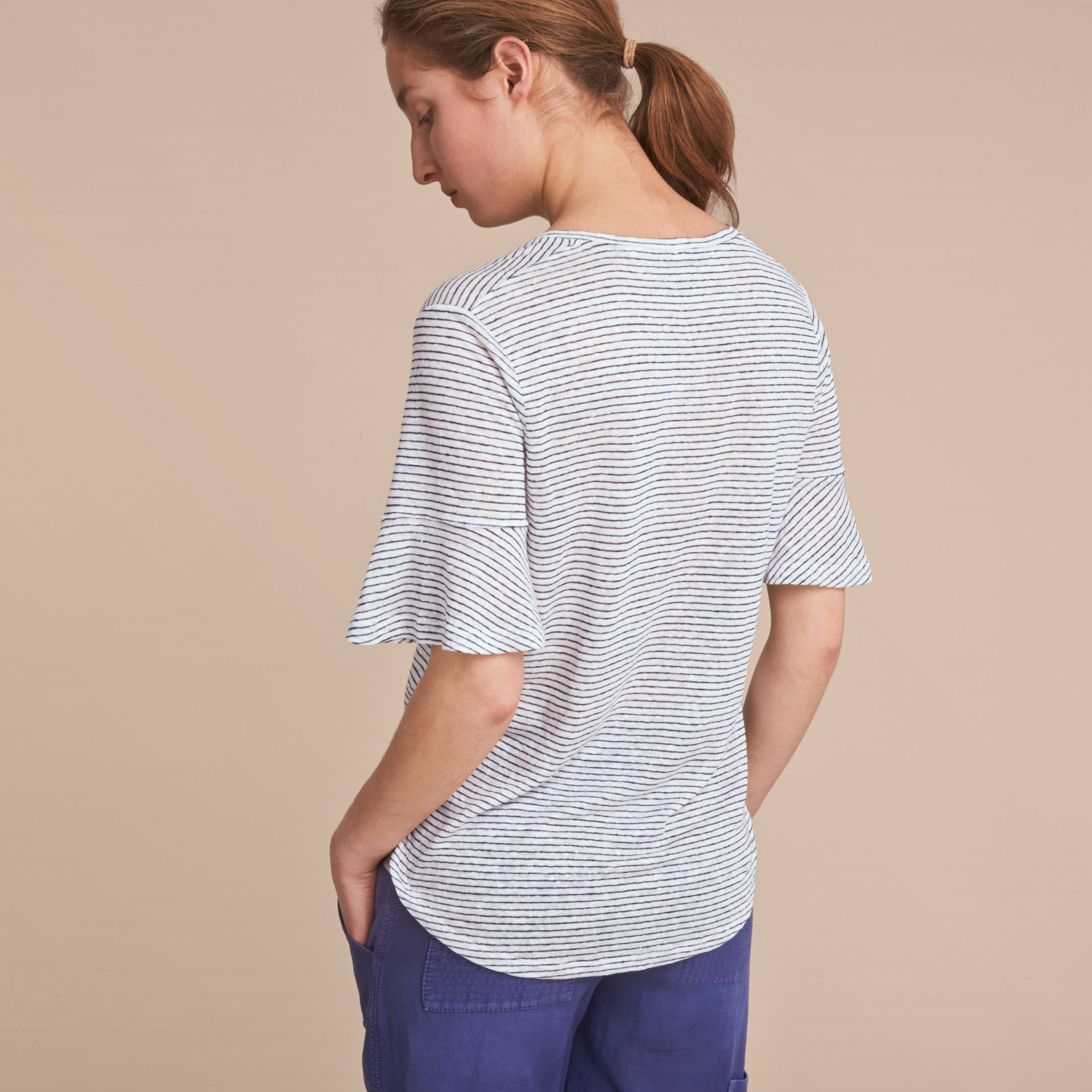 Bell-sleeve Check Detail Striped Linen T-shirt in Natural White/navy - gallery image 3