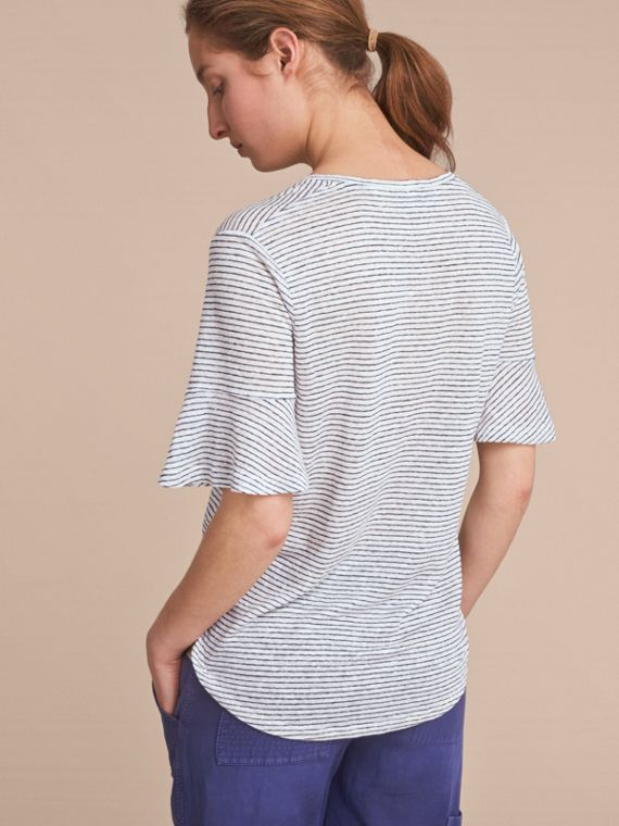 Bell-sleeve Check Detail Striped Linen T-shirt in Natural White/navy - cell image 2