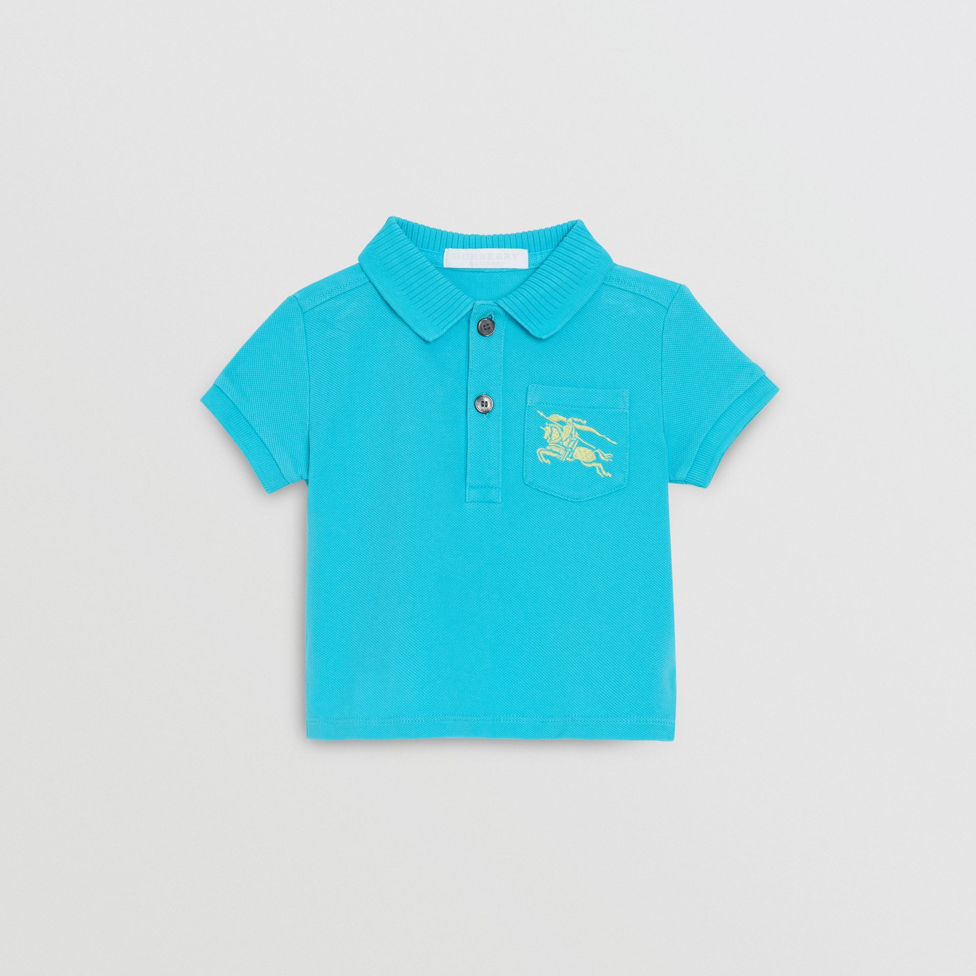 EKD Logo Cotton Piqué Polo Shirt in Bright Cyan Blue - Children | Burberry Hong Kong - gallery image 0