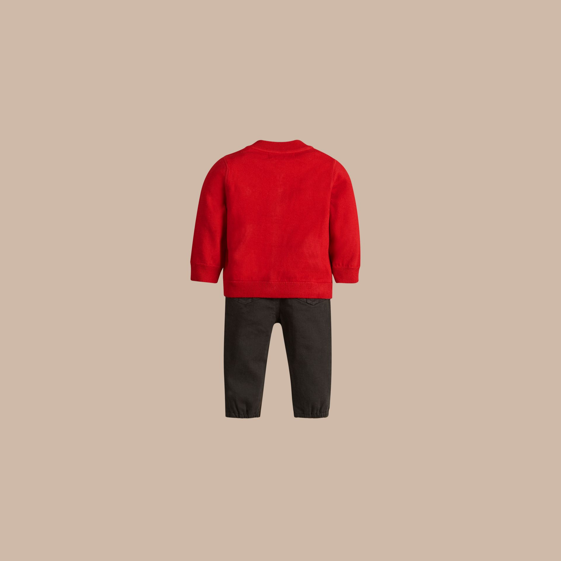 Check Detail Cotton Cardigan in Military Red - Boy | Burberry - gallery image 3