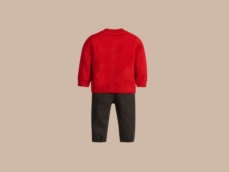 Check Detail Cotton Cardigan in Military Red - cell image 2