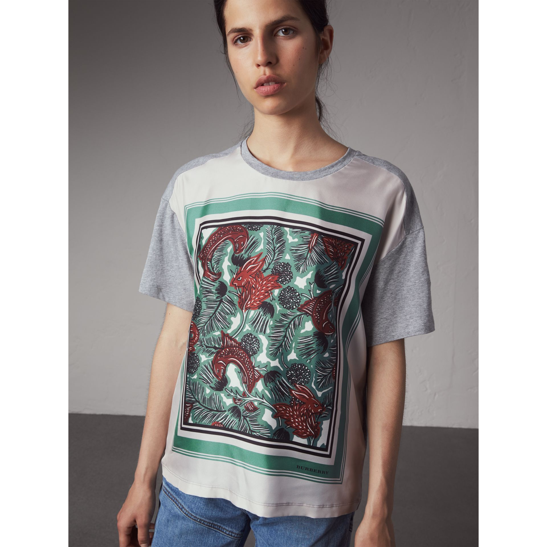 Beasts Print Silk Panel Cotton T-shirt in Pale Grey Melange - Women | Burberry Canada - gallery image 5