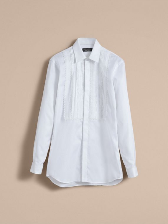 Cotton Shirt with Pintuck and Macramé Trim Bib in White - Men | Burberry - cell image 3