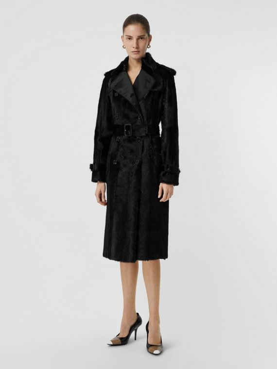 Trench coat de pelo caprino (Preto)