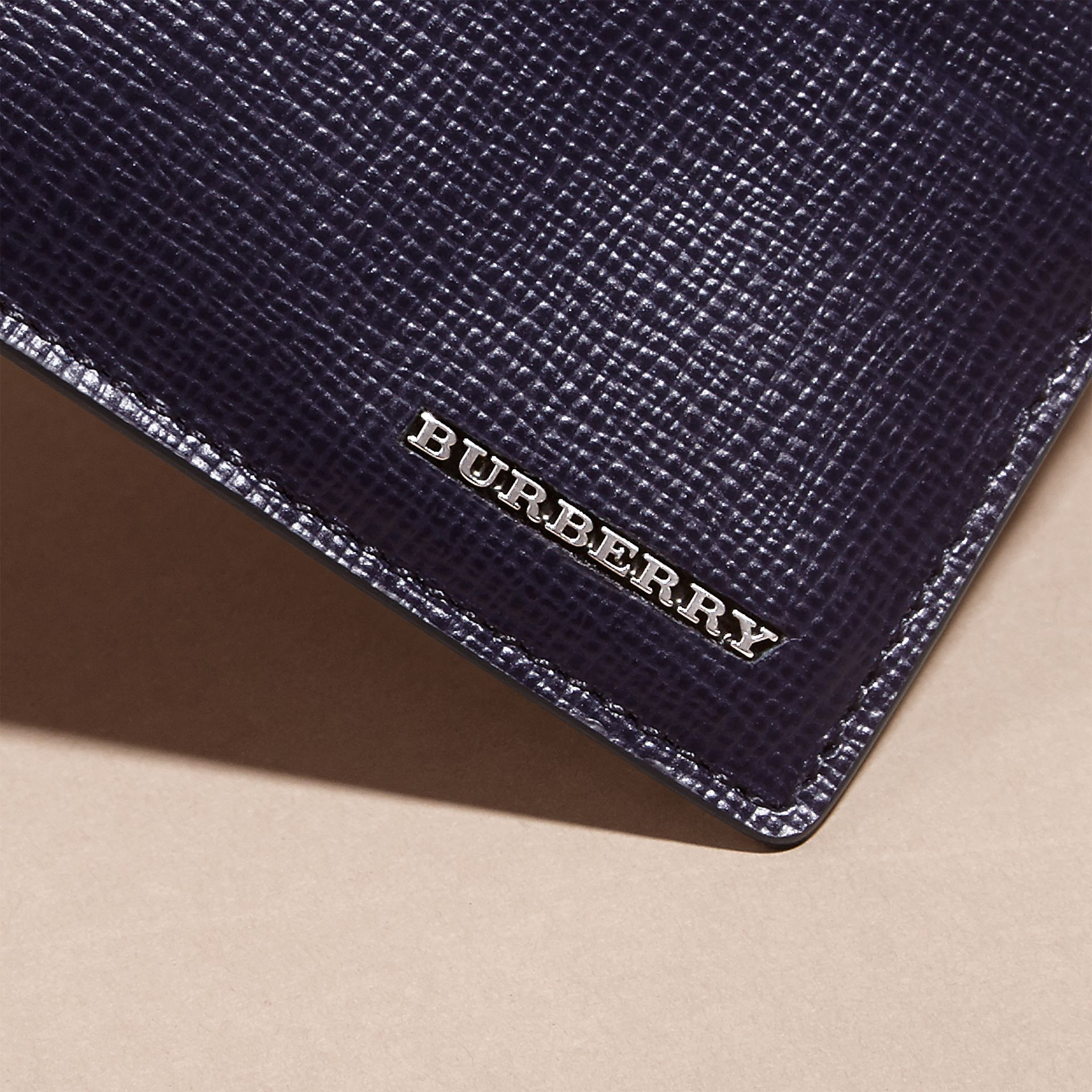 London Leather Card Case in Dark Navy - Men | Burberry - gallery image 2