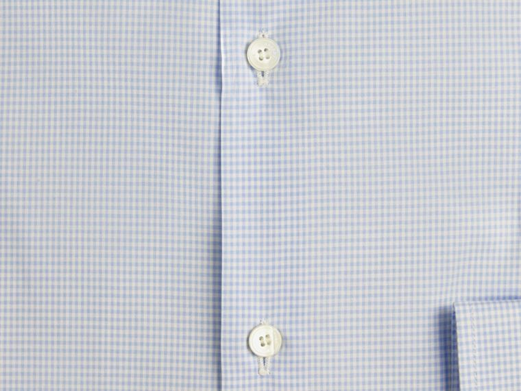 Slim Fit Gingham Cotton Poplin Shirt in City Blue - cell image 1