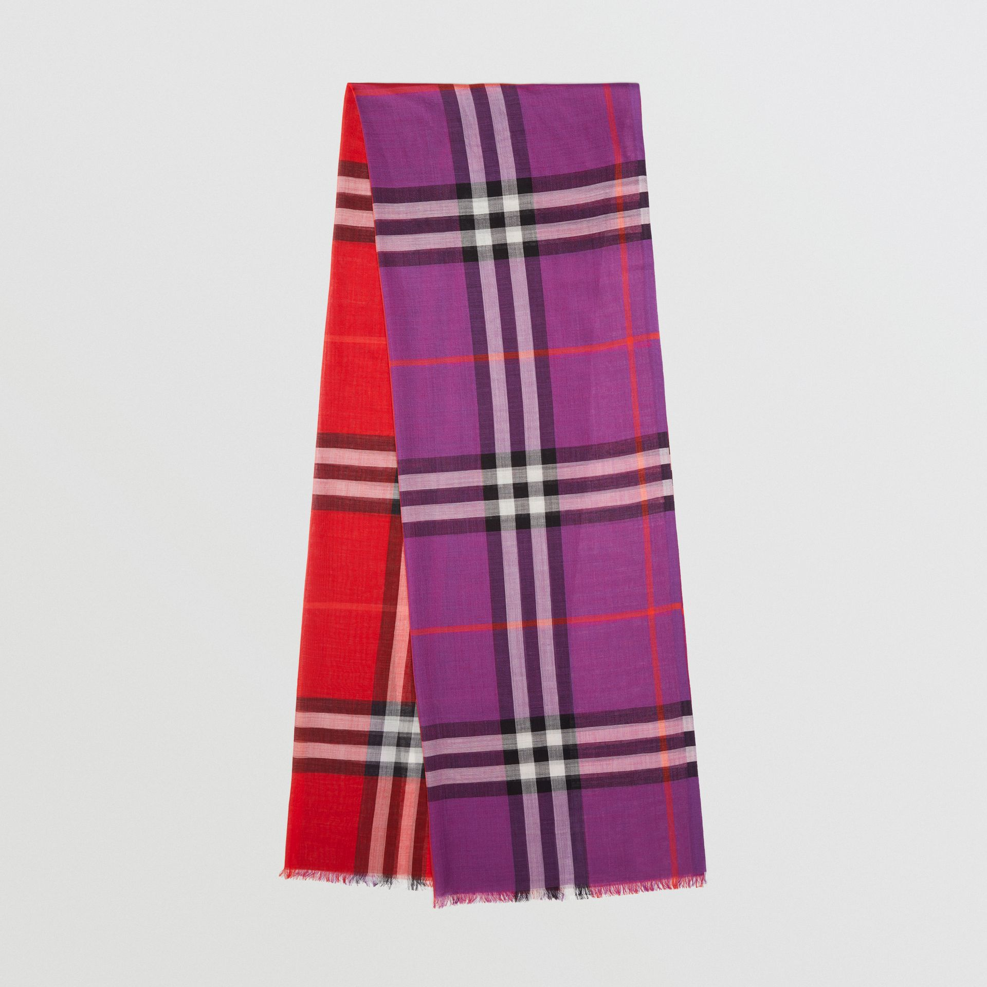 Colour Block Check Wool Silk Scarf in Bright Plum | Burberry - gallery image 0