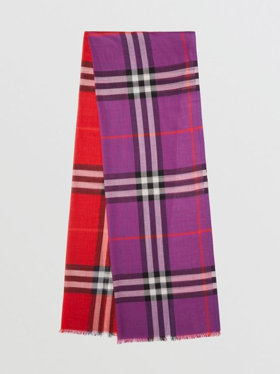 Colour Block Check Wool Silk Scarf in Bright Plum