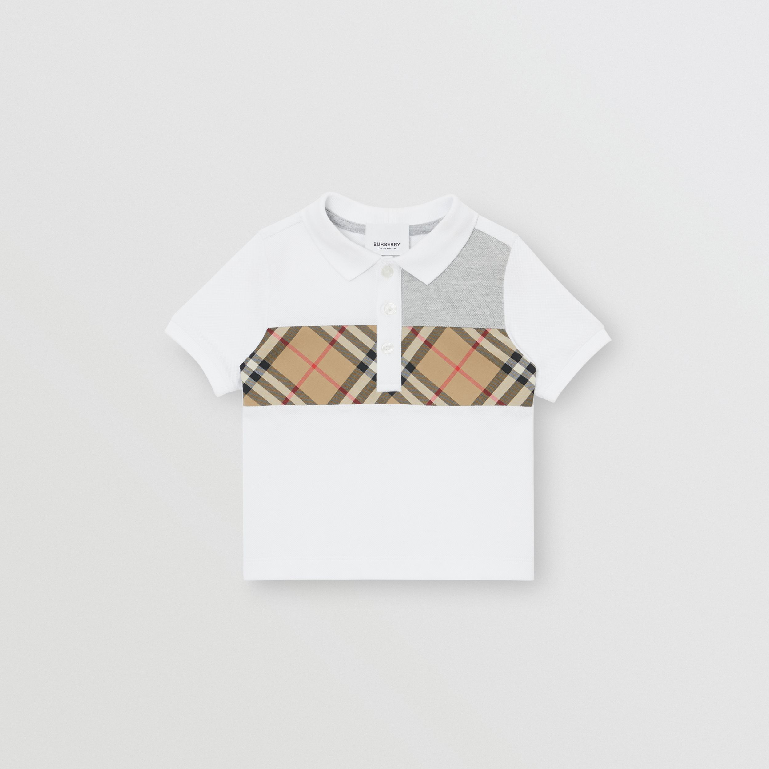 Vintage Check Panel Cotton Polo Shirt in White - Children | Burberry United Kingdom - 1