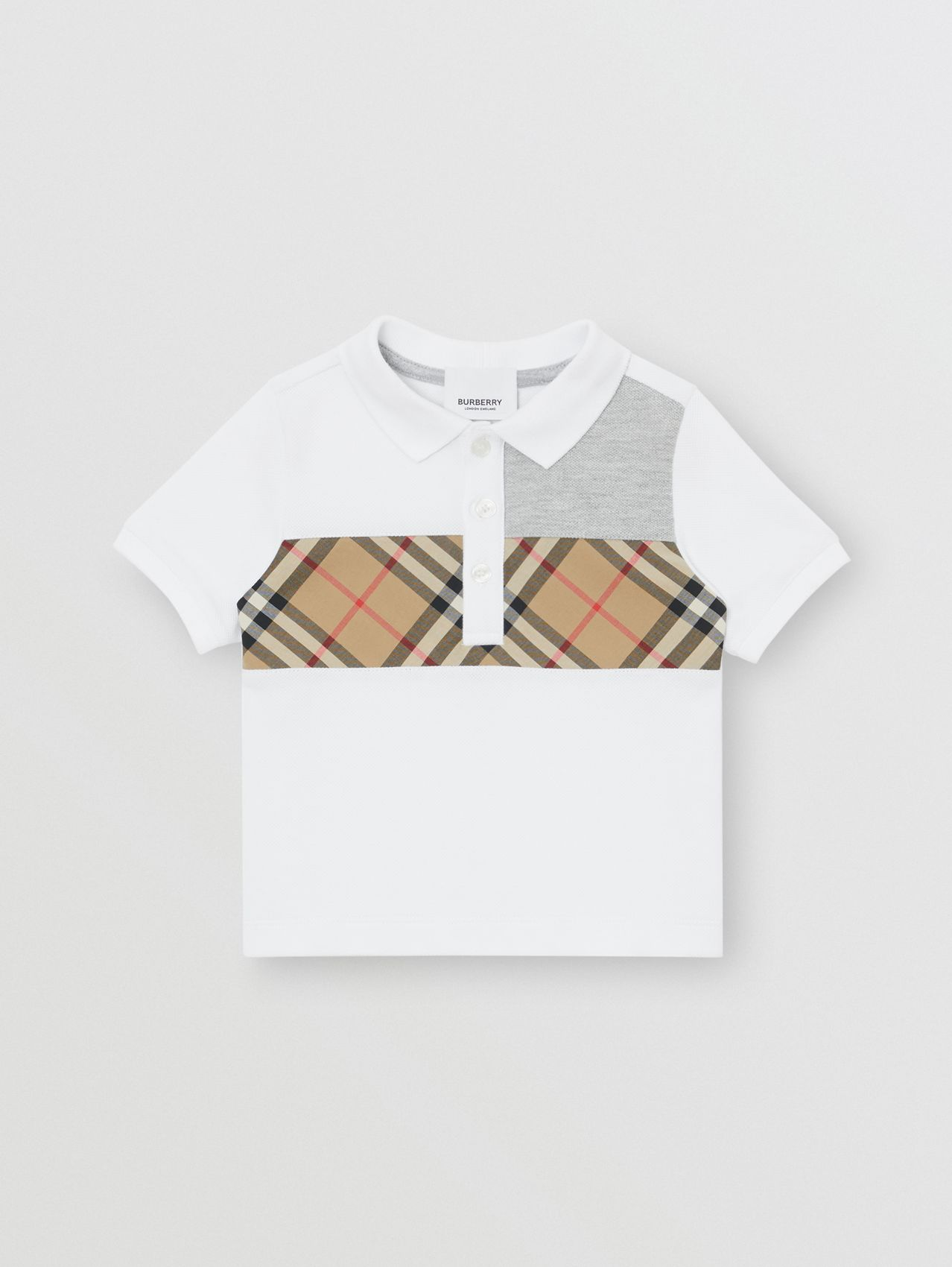 Vintage Check Panel Cotton Polo Shirt (White)