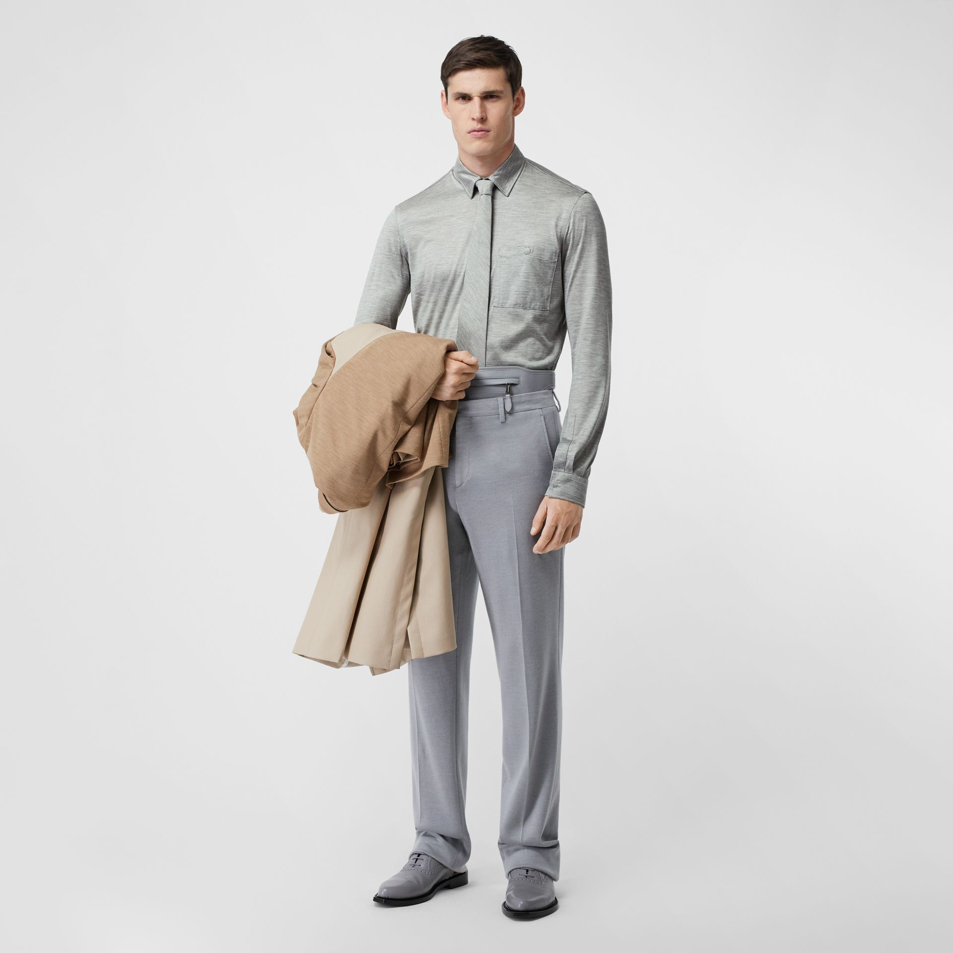 Classic Fit Silk Jersey Shirt in Light Pebble Grey | Burberry Australia - gallery image 4