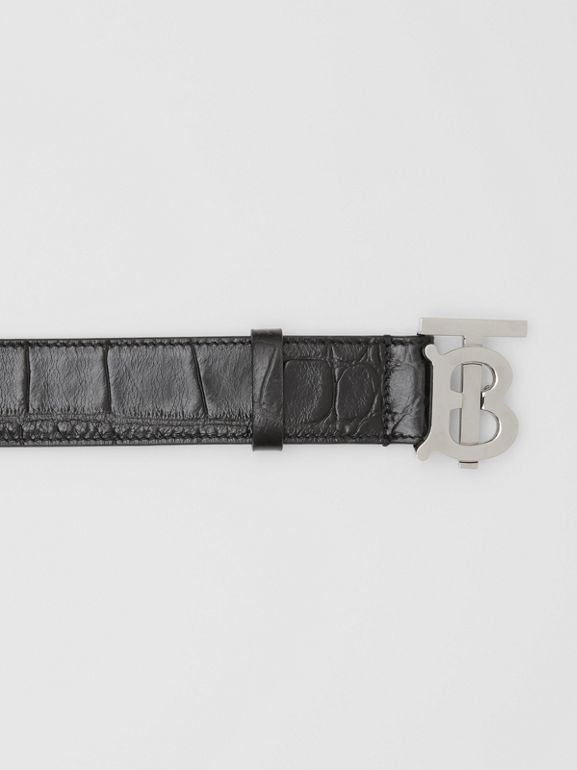 Monogram Motif Embossed Leather Belt in Black - Men | Burberry United Kingdom - cell image 1