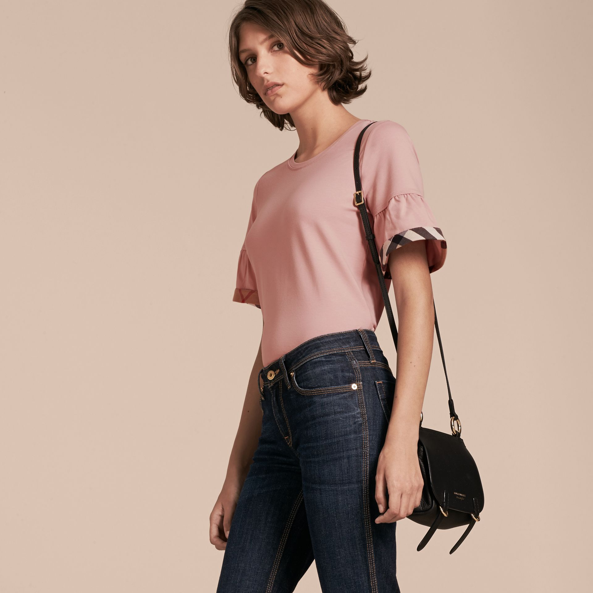 Ash rose Stretch Cotton T-shirt with Check Trim Ruffles Ash Rose - gallery image 6