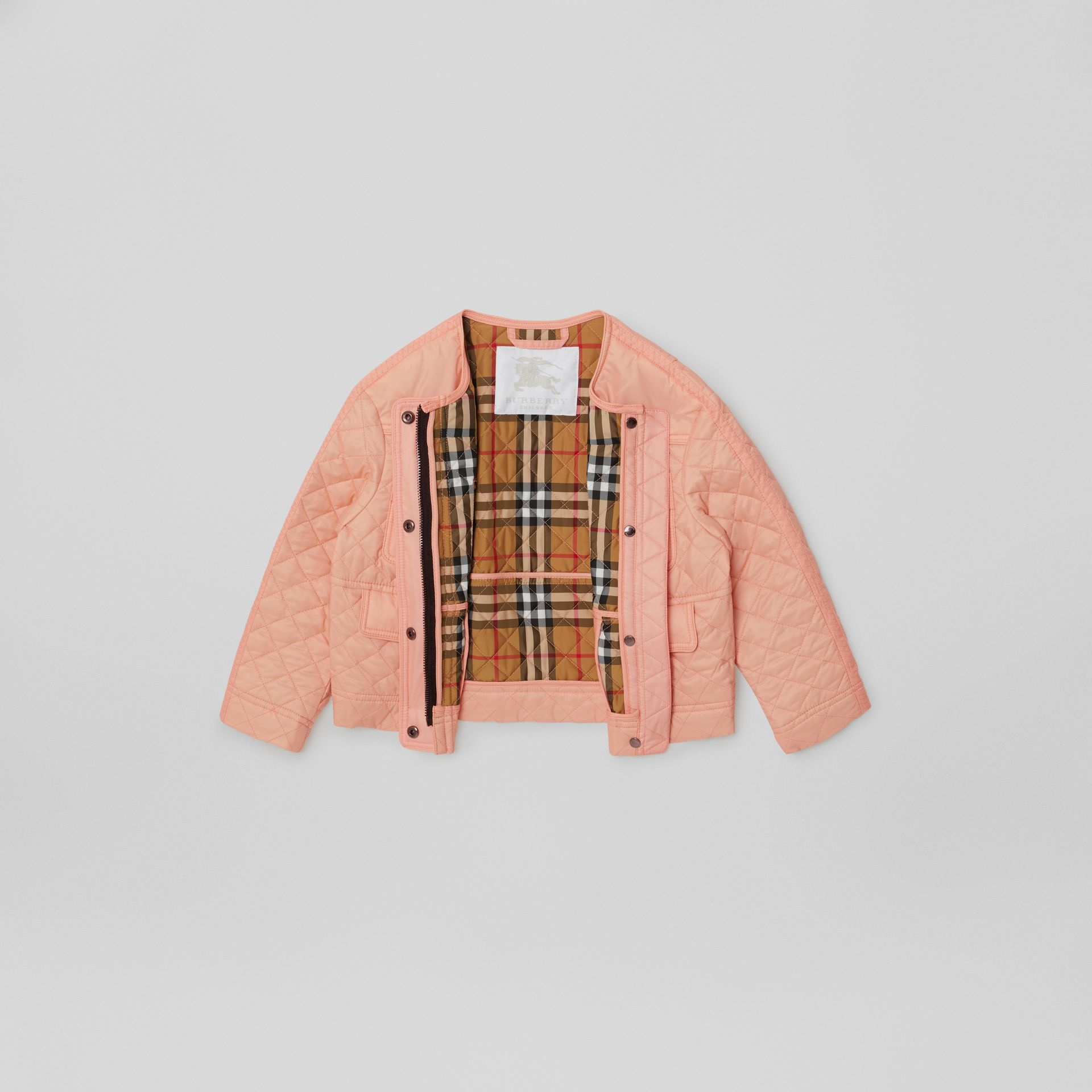 Lightweight Diamond Quilted Jacket in Apricot Pink | Burberry - gallery image 2