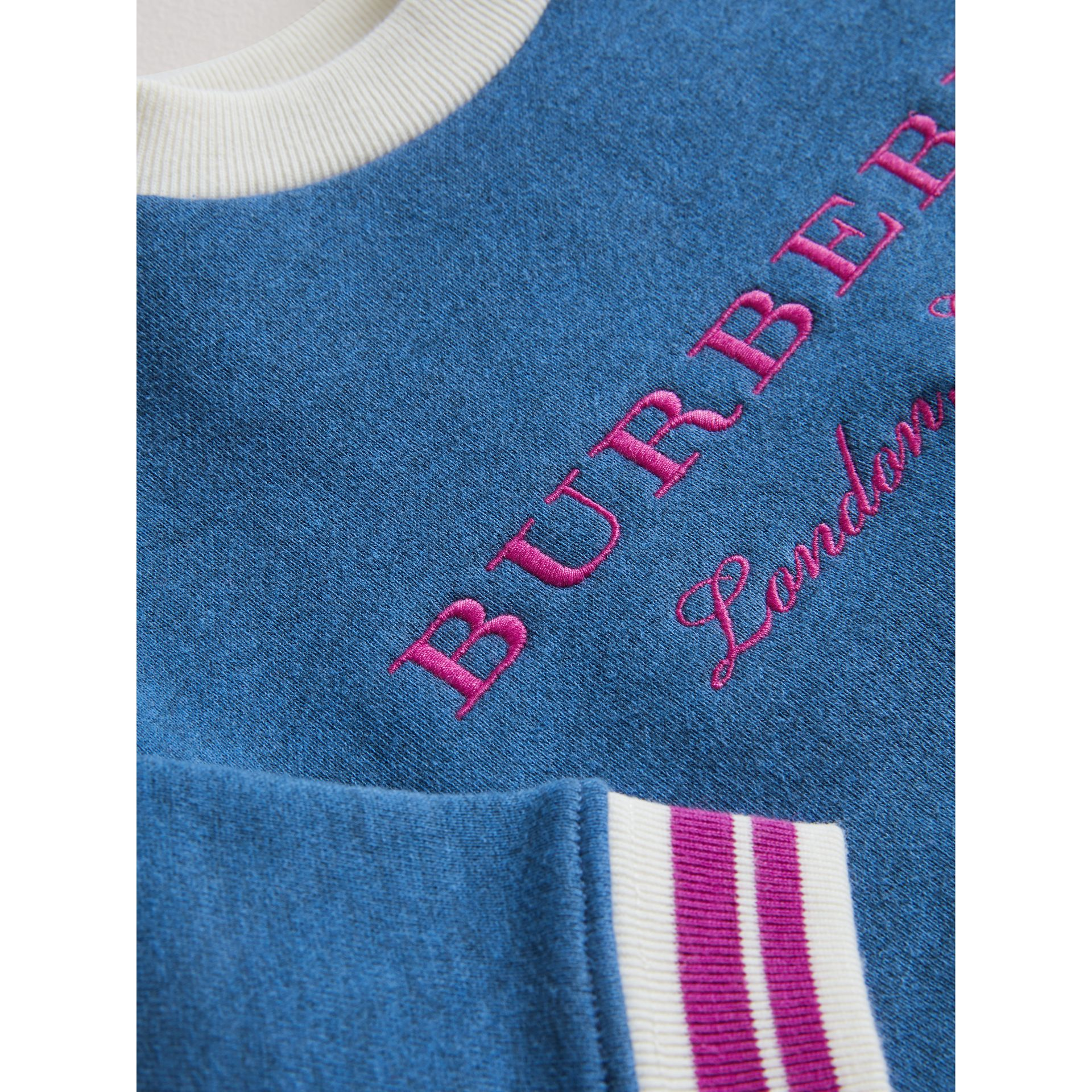 Contrast Stripe Embroidered Cotton Sweatshirt in Hydrangea Blue | Burberry - gallery image 1