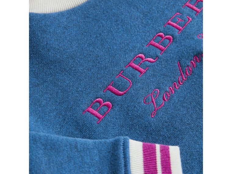 Contrast Stripe Embroidered Cotton Sweatshirt in Hydrangea Blue | Burberry - cell image 1