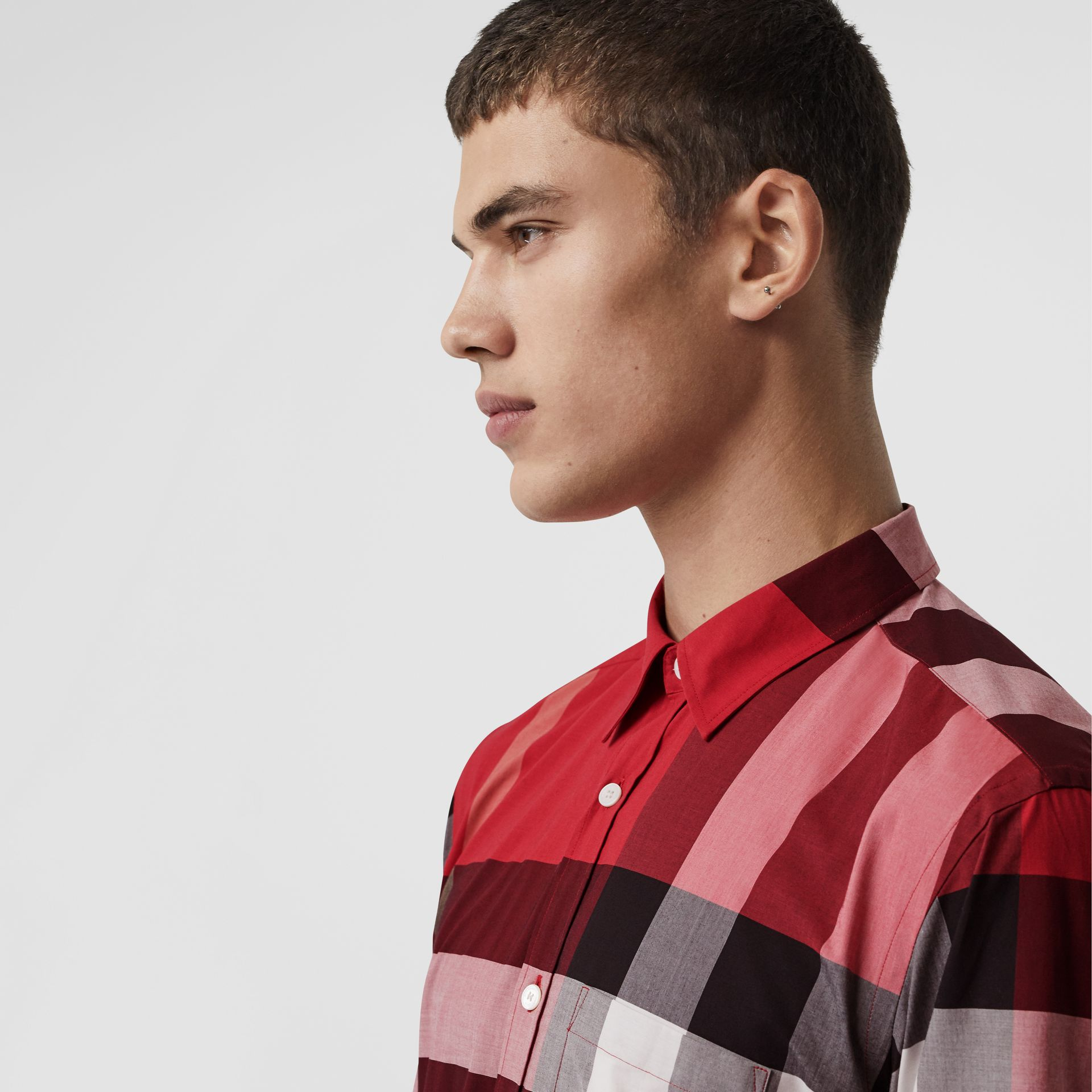 Check Stretch Cotton Shirt in Parade Red - Men | Burberry United Kingdom - gallery image 1
