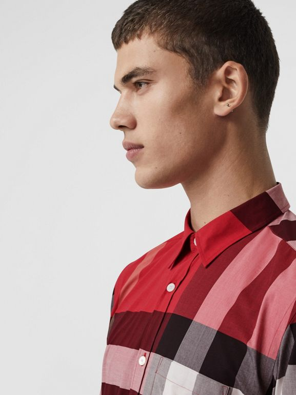 Check Stretch Cotton Shirt in Parade Red - Men | Burberry United Kingdom - cell image 1