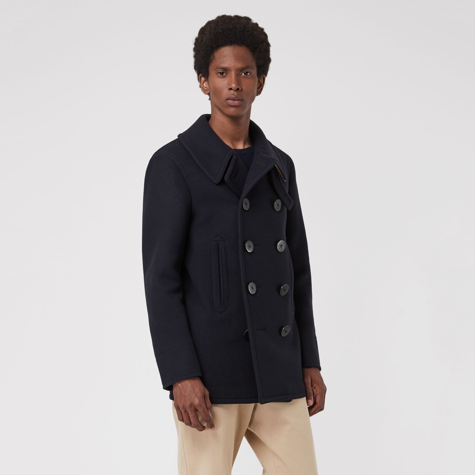 Wool Blend Pea Coat in Navy - Men | Burberry Canada - gallery image 5