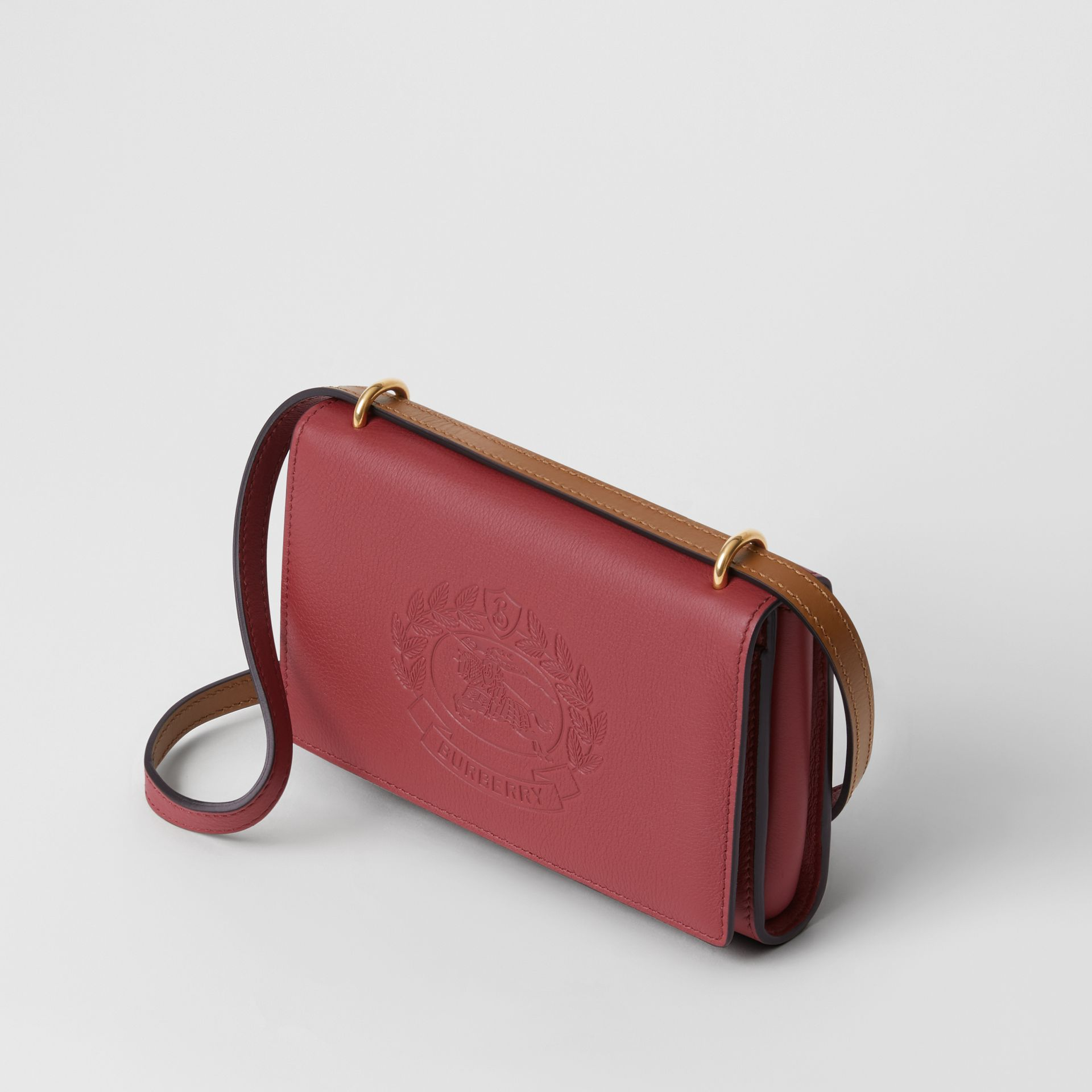 Embossed Crest Leather Wallet with Detachable Strap in Crimson - Women | Burberry - gallery image 4