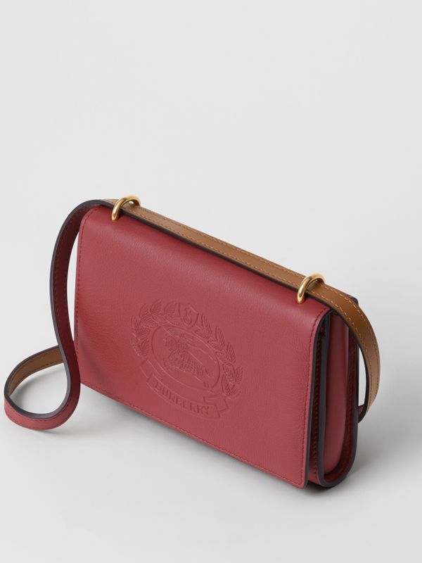 Embossed Crest Leather Wallet with Detachable Strap in Crimson - Women | Burberry - cell image 2
