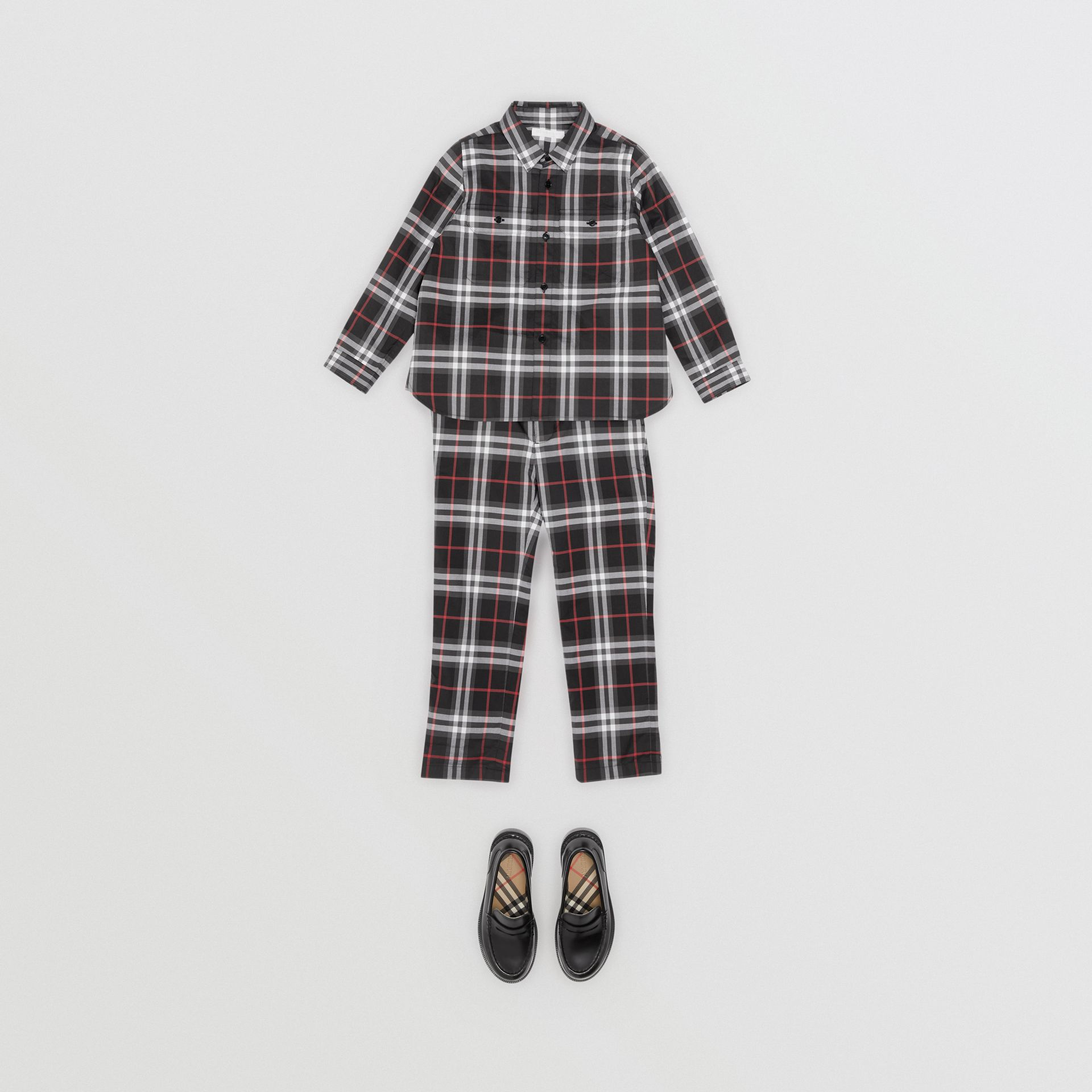 Vintage Check Cotton Shirt in Black - Boy | Burberry - gallery image 2