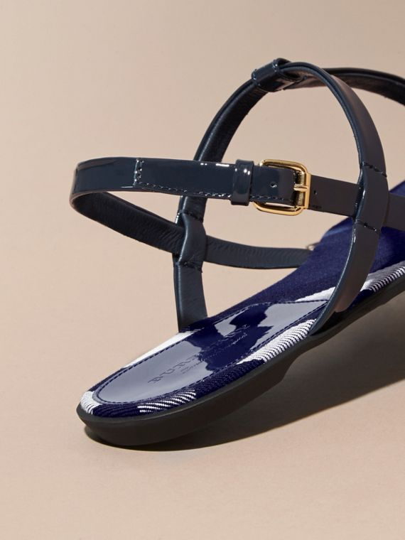 Indigo blue House Check-lined Leather Sandals Indigo Blue - cell image 3