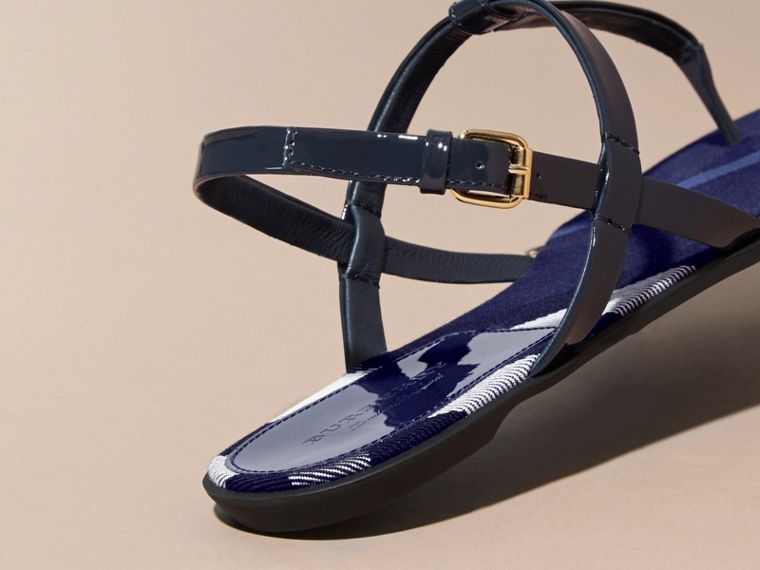 House Check-lined Leather Sandals in Indigo Blue - cell image 4
