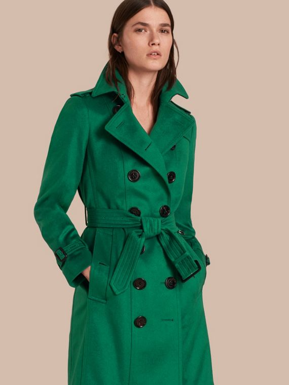 Trench-coat en cachemire de coupe Sandringham Vert Kelly