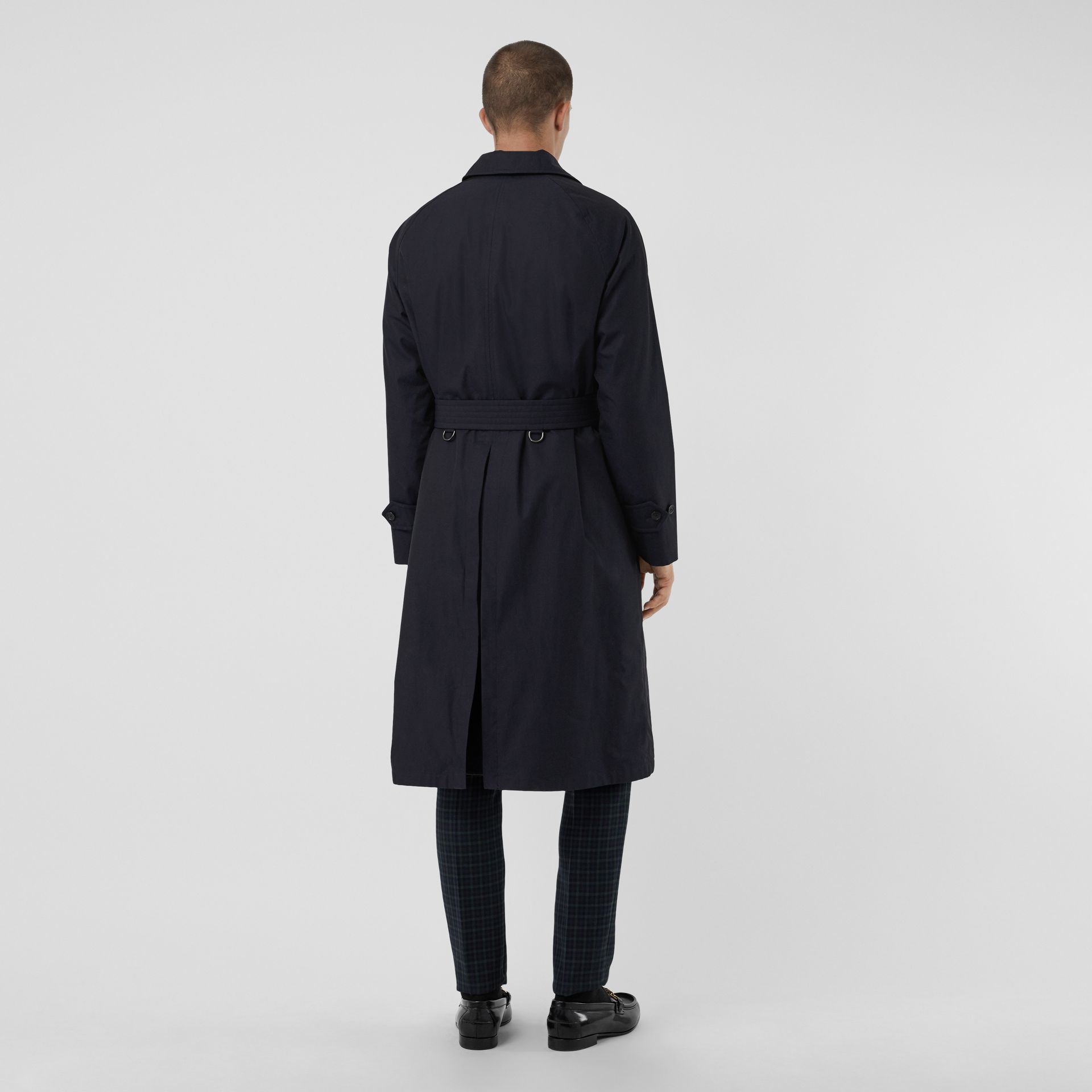 Quilt-lined Tropical Gabardine Belted Car Coat in Blue Carbon - Men | Burberry Canada - gallery image 2