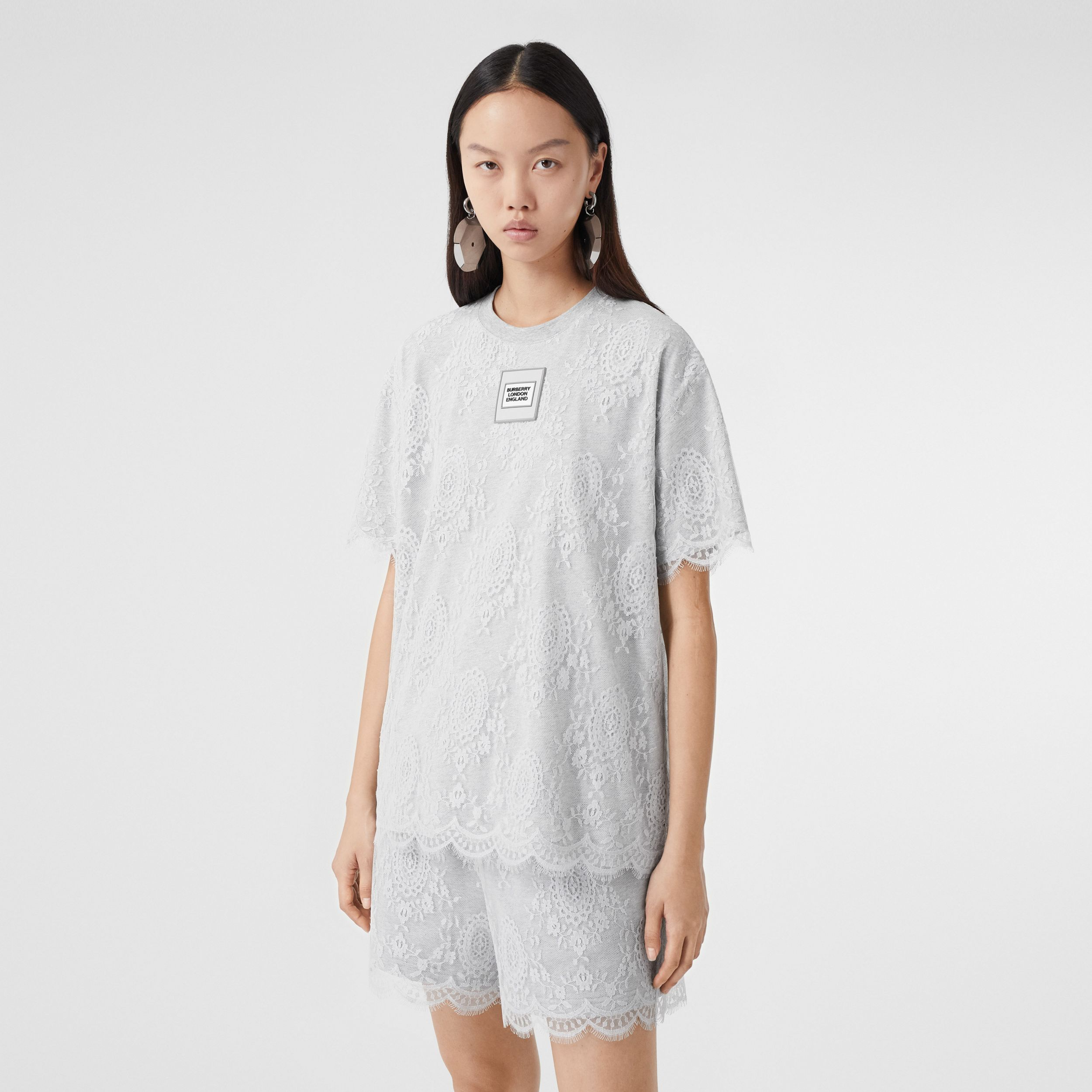 Logo Appliqué Lace Oversized T-shirt in Light Pebble Grey - Women | Burberry - 1